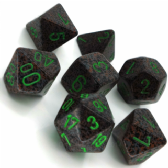 Grey & Green 'Earth' Speckled Polyhedral 7 Dice Set